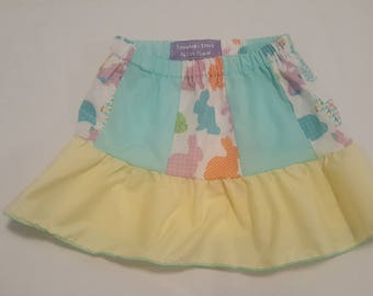 Easter Bunny paneled skirt with ruffles 6mos -4T