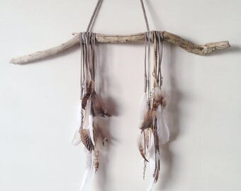 Feather driftwood wall decoration / boho / boho decor / wall decoration / feather mobile / wall hanging