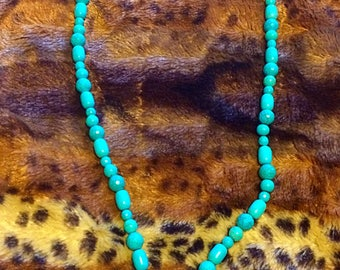 Long heavy turquoise beads with turquoise drop.