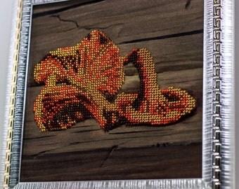 Beaded picture Mushroom Chanterelles yellow orange hall kitchen decor gift beadwork embroidery bead art interior design decoration