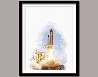 Rocket Launch Print, Rocket Launch Digital Print, Rocket Launch Wall Art, Rocket Printable Art, Rocket Digital Download, Watercolor Painting