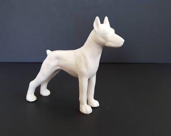 Vintage Dog Figurine White Ceramic Dog Statue Collectible Dog Great Dane Dog Figurine