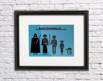 Your Custom Starwars Family 12x8  - Print Yourself - Pick characters and background color.