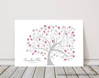 "wedding fingerprint tree guestbook wedding confirmation ""Tree"" on canvas"