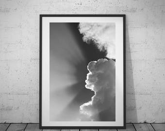 Nature Photography, Cloud Photo, Home Decoration, Digital Print, Black-White Photo, Wall Art, Printable Poster, Digital Download, 4 JPG's