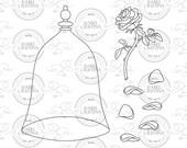 Rose + glas bell - IsabelCristinaStamps