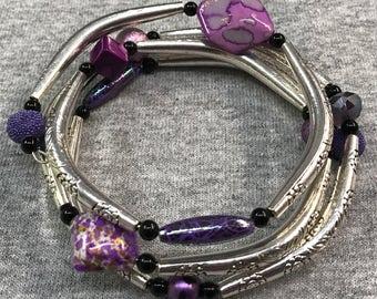 Mixed purple wrap bracelet
