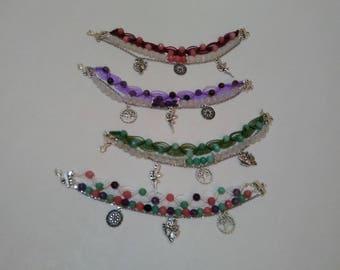 Triple bracelet, macrame, pearls and pendants