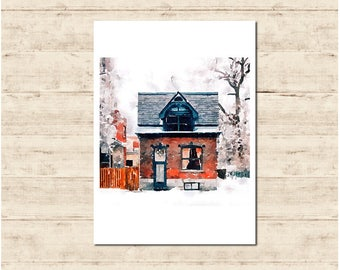 Winter House Watercolour Painting Postcard Poster Art Print Q145