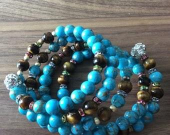Tiger eye aqua wrape bracelet