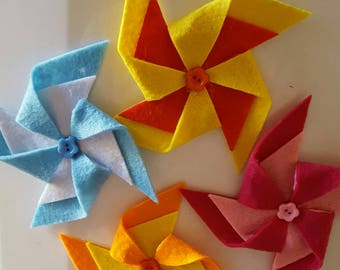 Pinwheels in felt with magnet ideal as a wedding favor