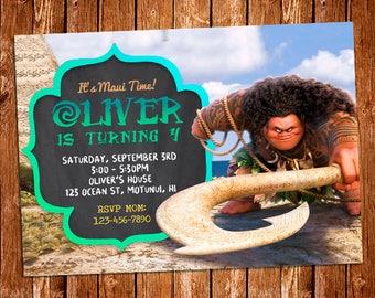 Maui Invitation, Maui Birthday Party Invite, Moana Invitation, Moana Invite, Moana Favor Invitation, Moana Party, Maui Birthday, Moana