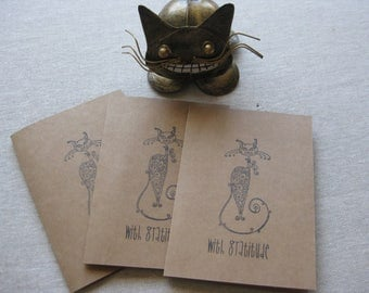6 Handmade Sophisticated Cat blank notecard set
