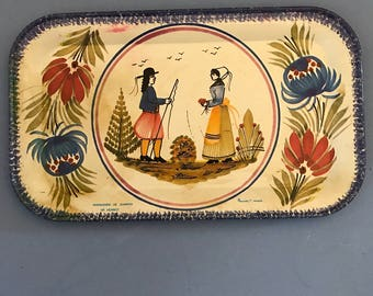 Vintage  Tin Tray, French Design, Vintage Metal Tray,