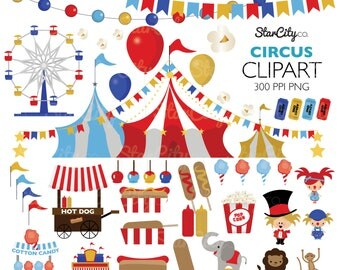 Circus clipart, Carnival Clip Art, Circus Graphics, Big Top clipart, Carnival Clip art, Cute Clipart. Commercial Use, instant download