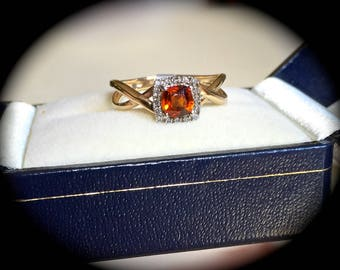 "Natural Hessonite Garnet & Diamond Ring 9ct Y GOLD Size O 'Certified"" Exquisite Colour!"