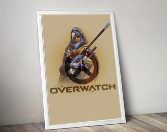 Overwatch Sombra Poster, Game Poster, Flat Print Design, Digital Printable Poster, Blizzard wall art, Instant Download, game art