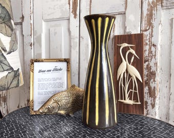 50s / 60s years vase with stripe / 50s 60s vase with stripes
