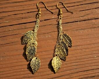 Golden Leaf Dangle Earrings