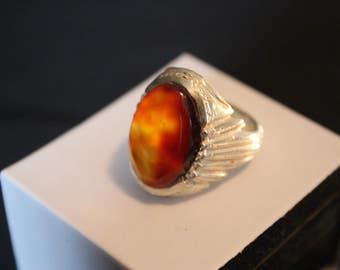 925 Sterling Silver Men's Ring - Beautiful Dark Volcanic Aqeeq Ring
