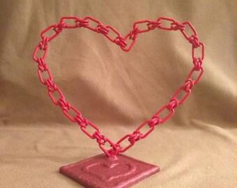 WELDED METAL ART. pink chain heart. sculpture