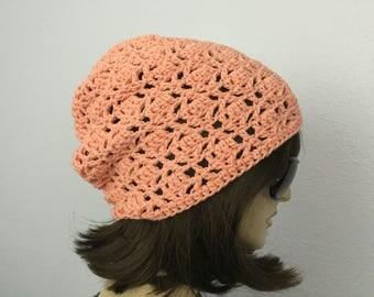 Womens Summer Crochet Hat Womens Summer Slouchy Beanie in Coral Women Spring Hat Summer Fashion