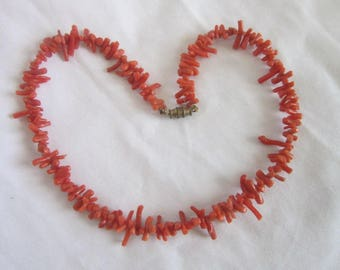 Antique Coral Beaded Necklace 16 inch long