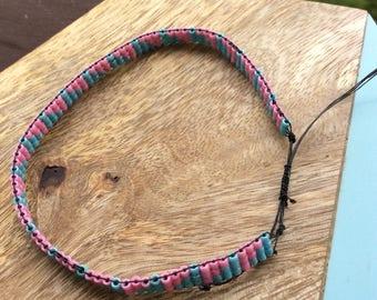 Beaded bracelet- spring colors- bead loom
