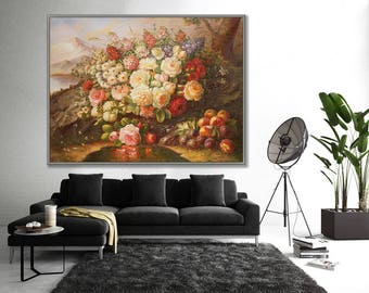 """Classical Flower Art, Flower Painting,  36x48""""/90x120cm Large Painting"""