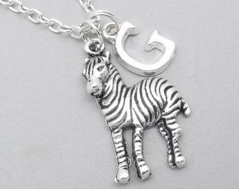 Zebra monogram necklace | zebra charm necklace | zebra pendant | personalised zebra necklace | zebra jewelry | initial letter