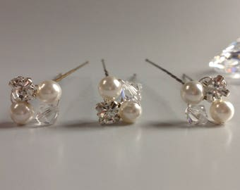 Bridal Hair Pins X3 made with Swarovski Crystal Pearls, Swarovski Clear Crystals & rhinestone detail