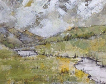 Original framed acrylic 'Snowdonia lake 2'