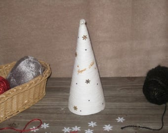 White Christmas in glued - 24 cm wool tree