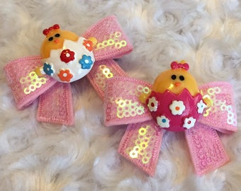 Easter Chicks Bow Set