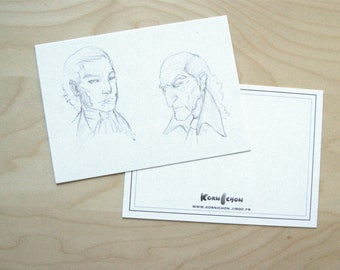 Postcard: Portraits of men type French revolution, sketches.