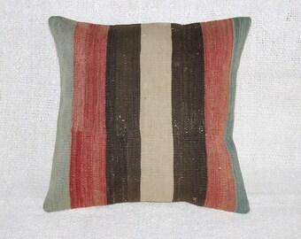 "Kilim Pillow,Throw Pillow, Vintage Pillow,Cushion Cover,16""x16""inches,40x40 cm"