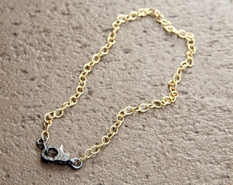 Gold Plated Diamond Lock Necklace
