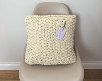Merino Wool Hand Knitted Super Chunky Cushion Cover in Moss/Seed Stitch - Off White