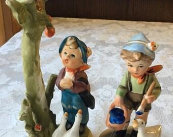 2 Vintage Porcelain Figurines Little Boys with Ducks made in Japan Hummel Style