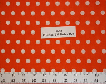 Orange Polka dot Cotton Fabric SHIPS FAST Polka dot Cotton fabric for quilting sewing crafts clothing fabric store free shipping available