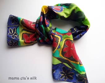 "Silk scarf, hand painted ""Flowers"""