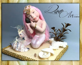 "OOAK mermaid baby ""Little Shelly""-art doll by Dumanart"