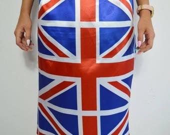 Women's skirt, Flag skirt, Printed skirt, Vintage 90s, Union Jack, London