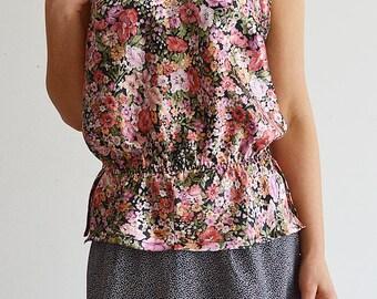 Women's tank top pattern, girl, floral, romantic