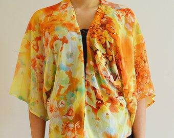 Women's floral print short cape sheer kimono Flowers oversize