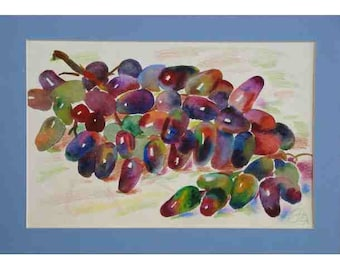 Watercolor painting, a small still-life,Grapes watercolor, fruit watercolor  18x27