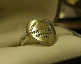 Tiffany Sterling Silver Heart Ring  - Size 7