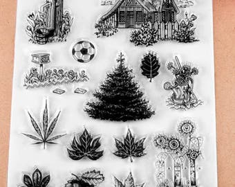 Farm, Barn, Sunflower, Trees, Mailbox, Pump, Leaves, Clear Rubber Stamp Set for Scrapbooking, Card Making, Collage, Paper Craft