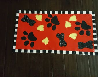 Dog Paws with Red and black and white checks Floor Cloth