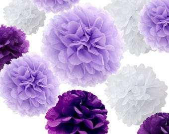 Set of 18 Mixed Purple Lavender White DIY Tissue Paper Pom Poms Flower Ball Baby Shower Wedding Engagement Birthday Party Decoration
